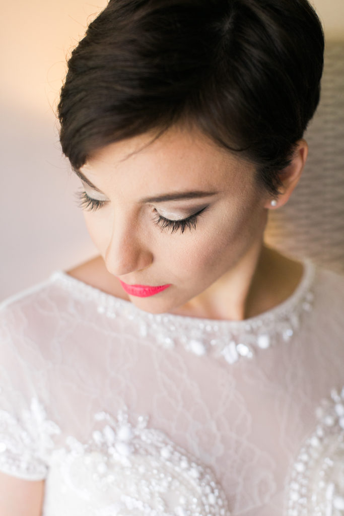 Bride close up short hair bright pink lipstick