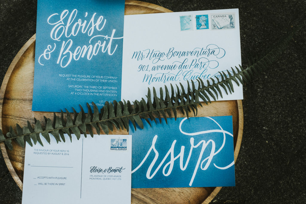 indigo and white invitation suite
