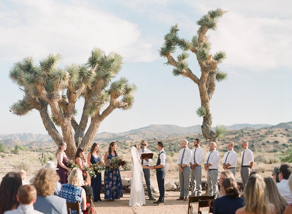 ceremony at rimrock ranch in front of joshua tree