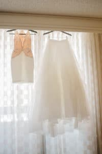 two piece wedding dress with sparkly top