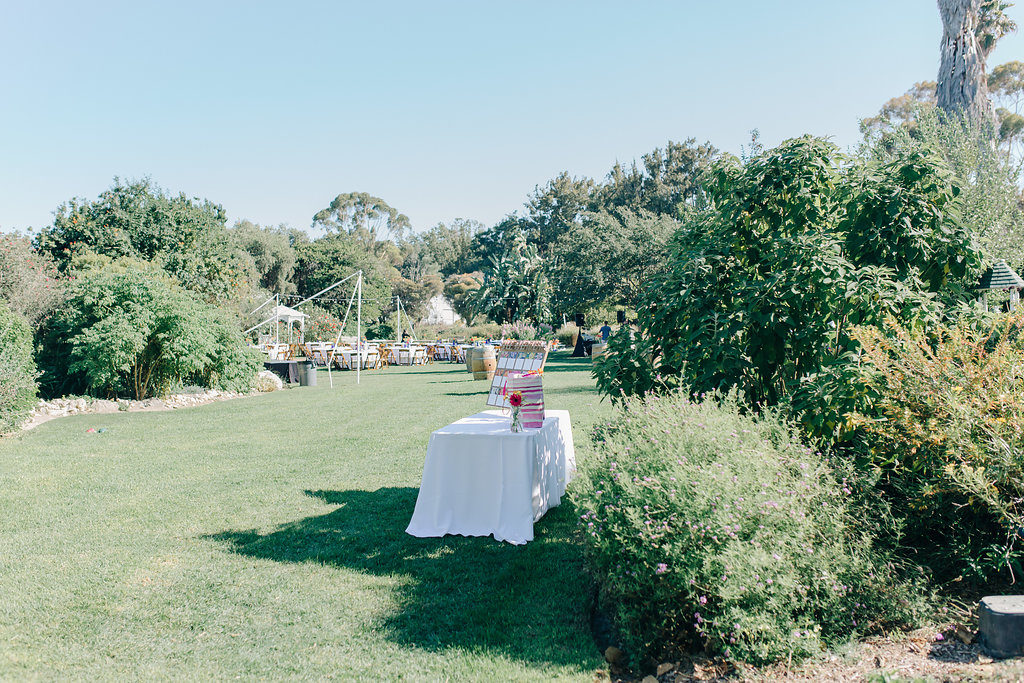 garden wedding reception at south coast botanic garden
