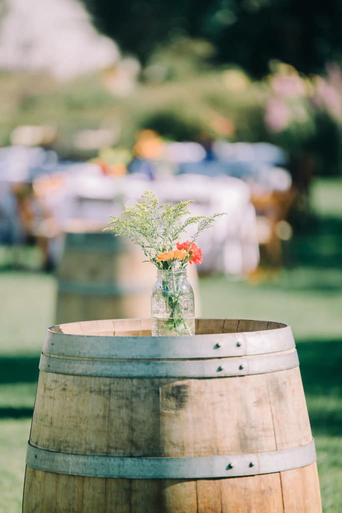 wine barrel cocktail tables for wedding