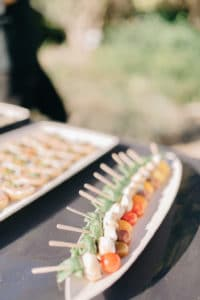 trays of food for wedding