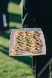 passed appetizers for outdoor wedding