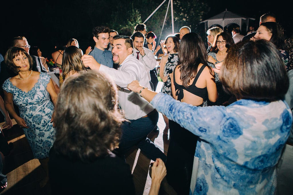 dance party for wedding at garden