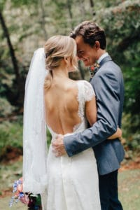 open back wedding gown for woodsy wedding