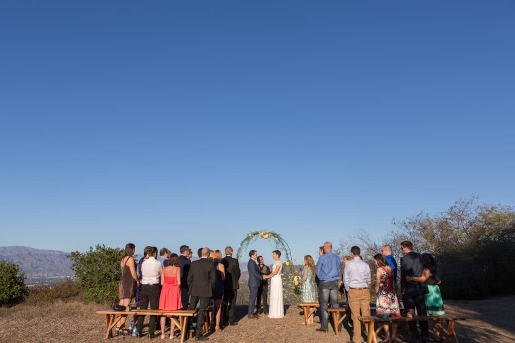 Small intimate wedding with 25 guests at TreePeople park. The ceremony was overlooking Los Angeles and the view was spectacular