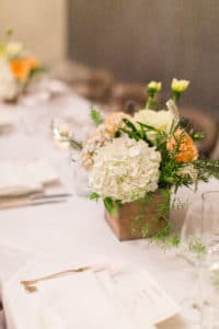small floral arrangement for intimate reception at cecconi's west hollywood