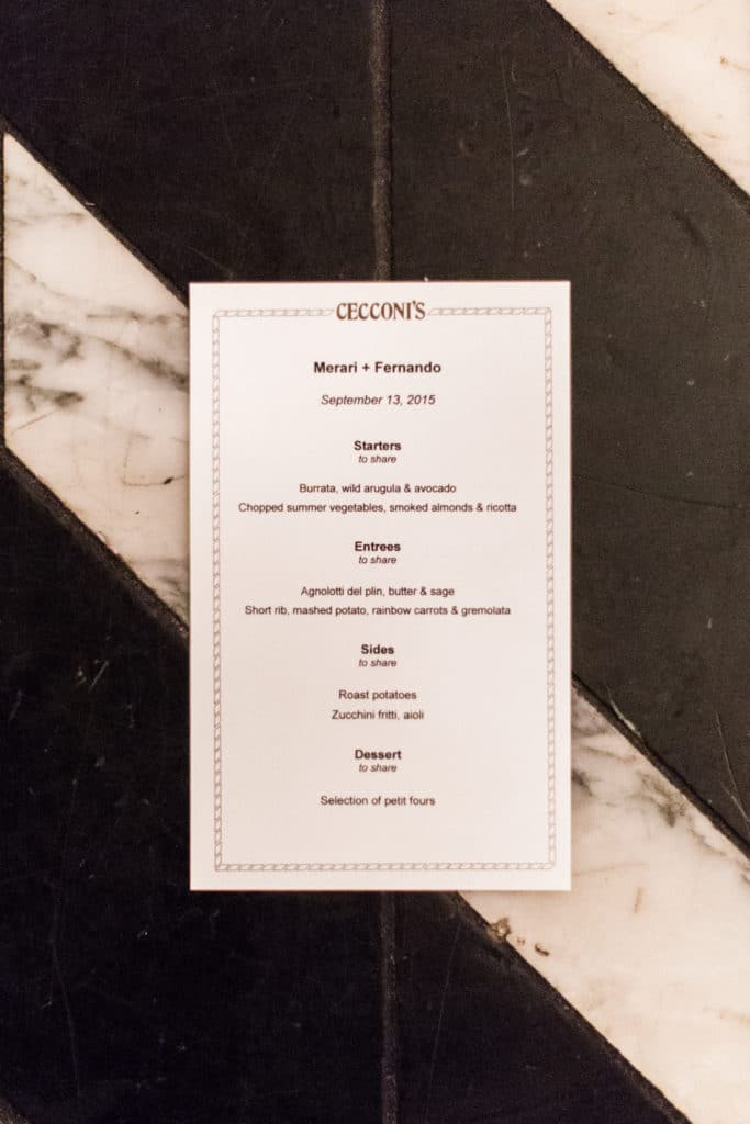 reception menu at cecconi's west hollywood on black and white floor