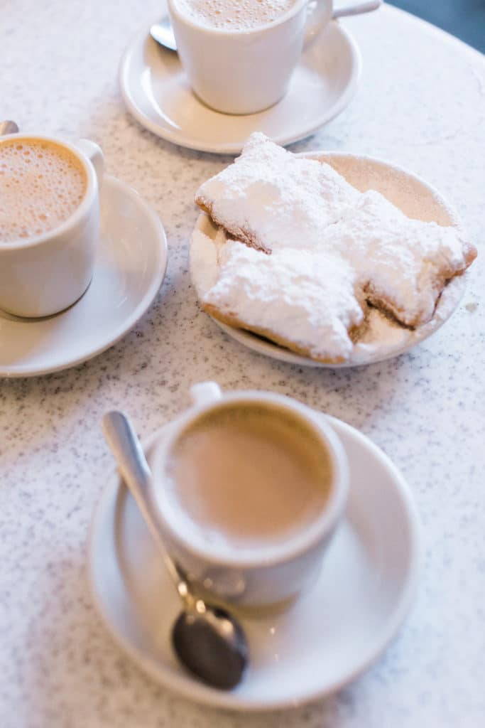 Beignets from Cafe du Monde in New Orleans with powdered sugar