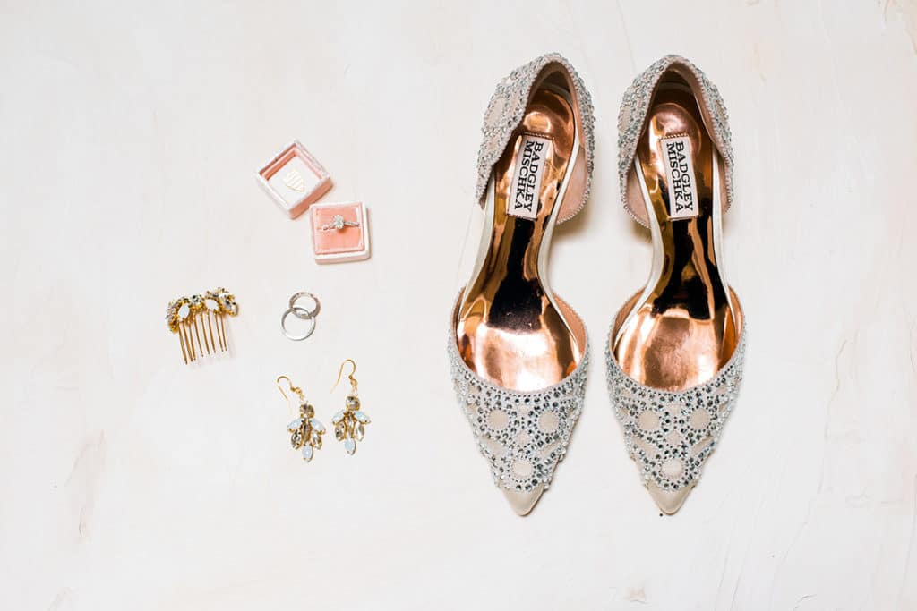 brides edgy glam Badgley Mishka shoes and earrings