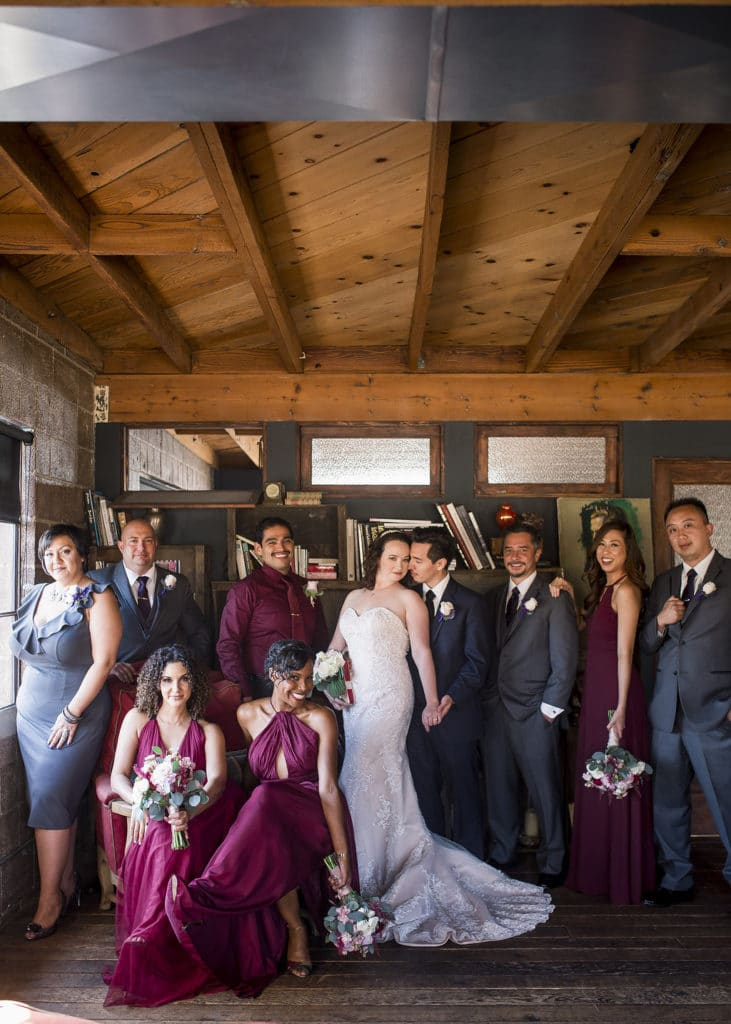 bride and groom and bridal party photo at smoky hollow studios