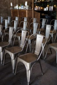 metal chairs for ceremony at smoky hollow studios