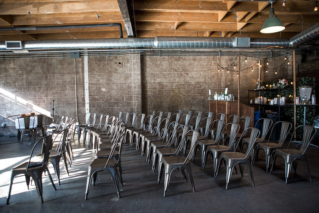 ceremony chairs set up at smoky hollow studios