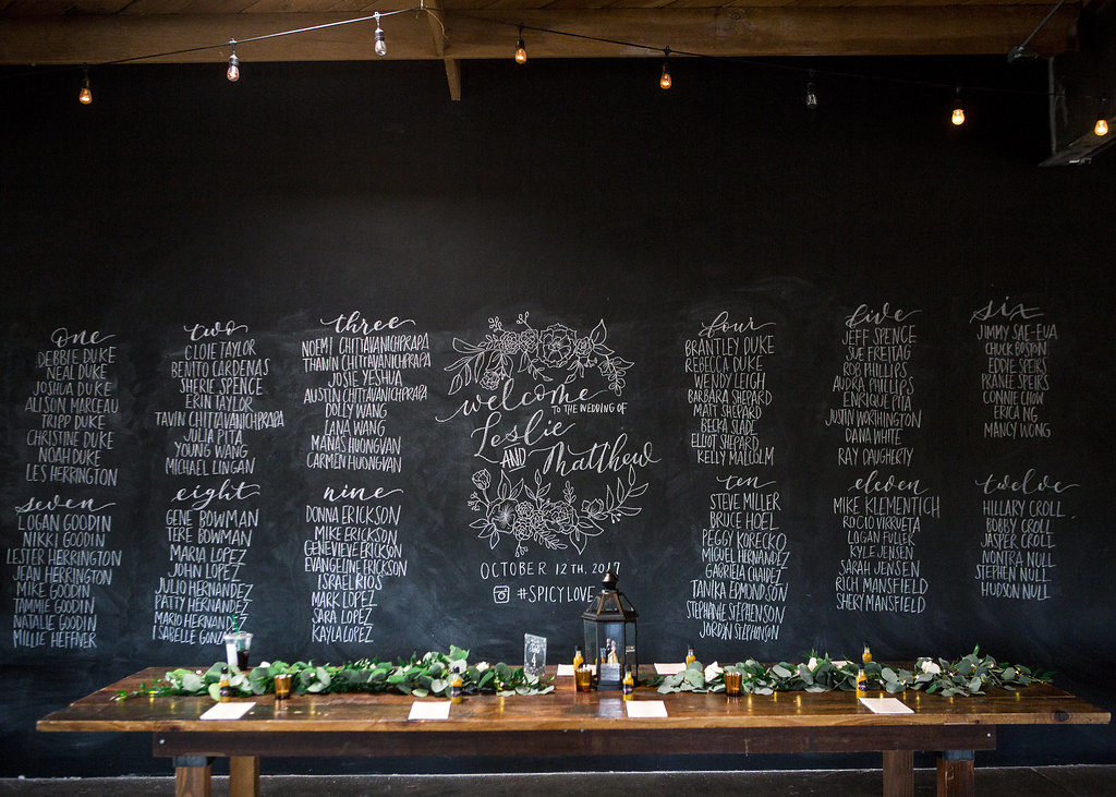 table assignment on chalk wall at smoky hollow studios for wedding reception