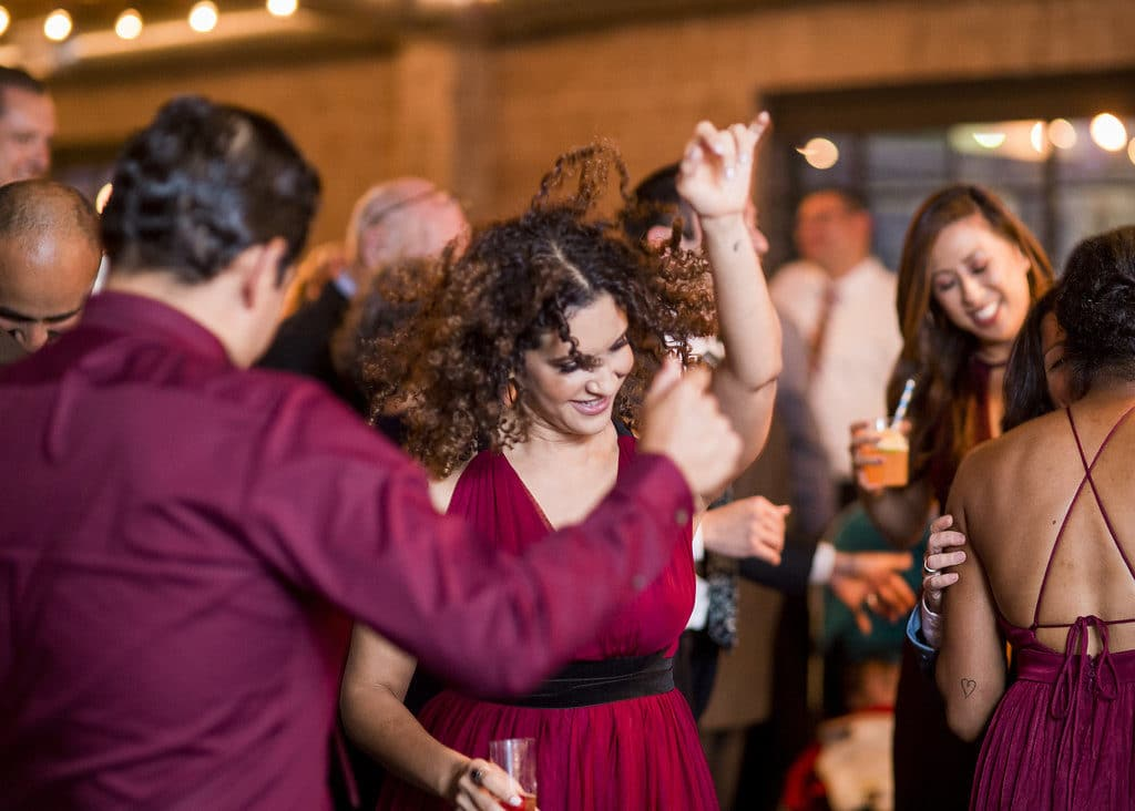 guests dancing at reception in los angeles