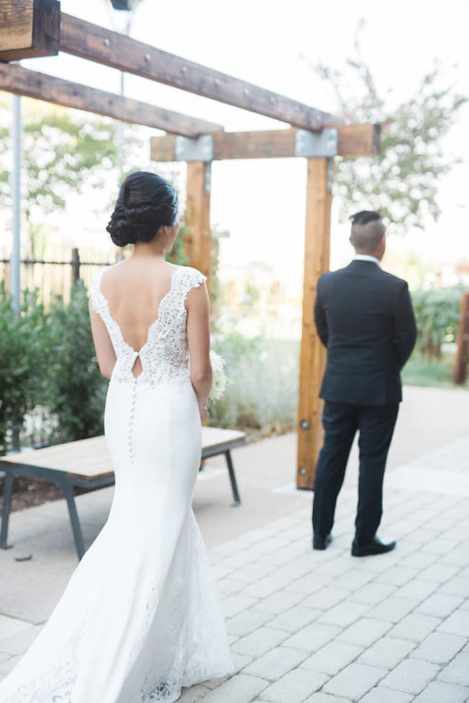First Look for the Bride and Groom at the Santa Margarita Ranch