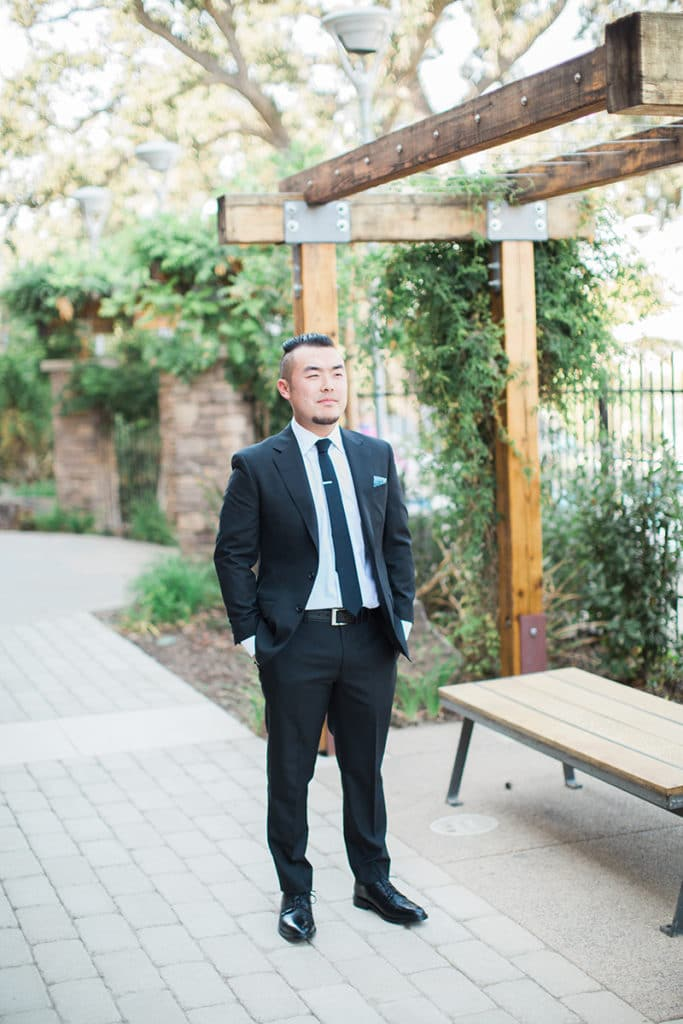 Groom waiting for his bride in Santa Margarita
