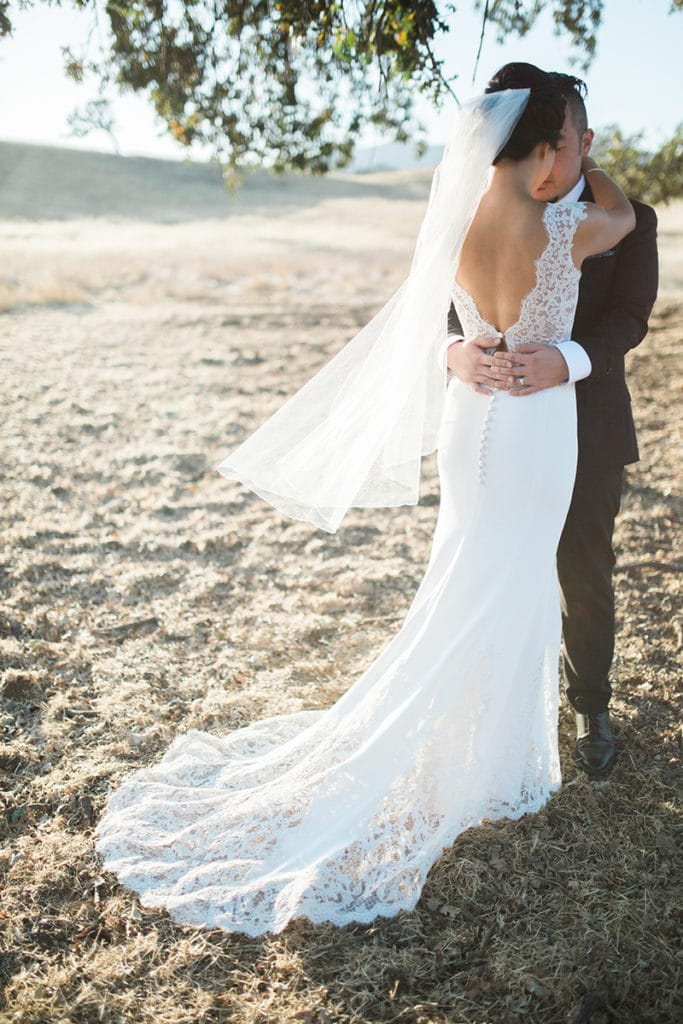 Back of bride's dress with veil in wheat field