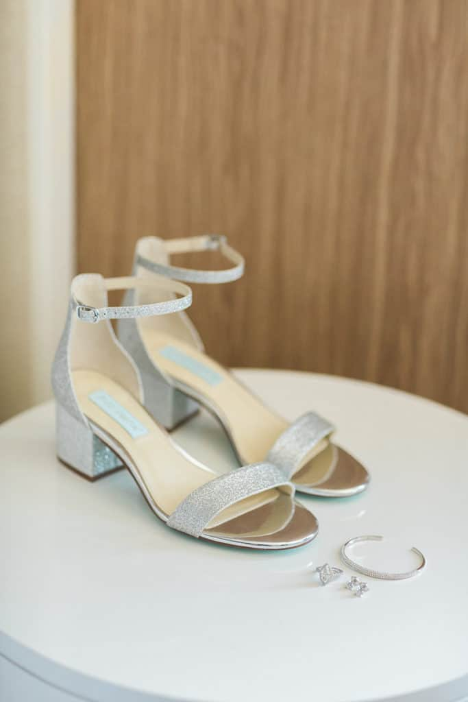 Silver wedding shoes with ankle strap and open toe