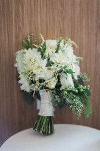 Bride's bouquet with white and greens for barn wedding in California