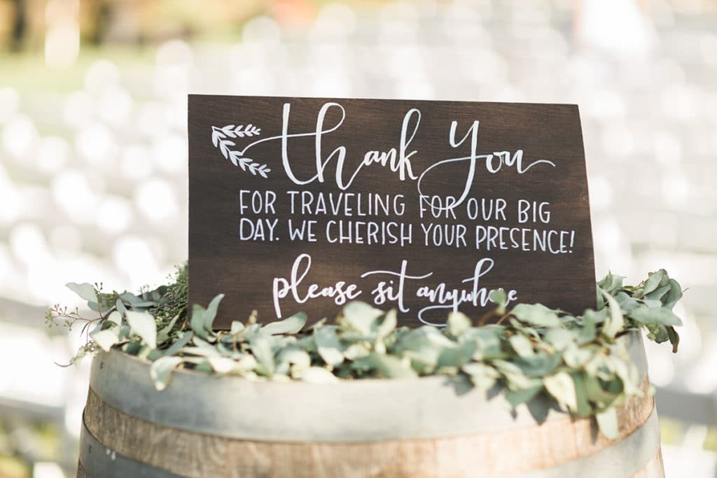 Wooden Ceremony Sign, sit where you want