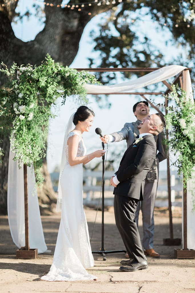 Bride and groom read their vows which were personal but also cute and funny