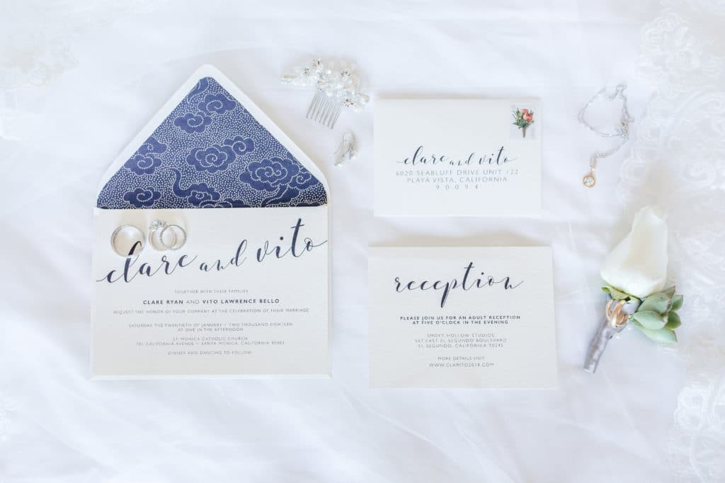 Navy and white wedding invitations