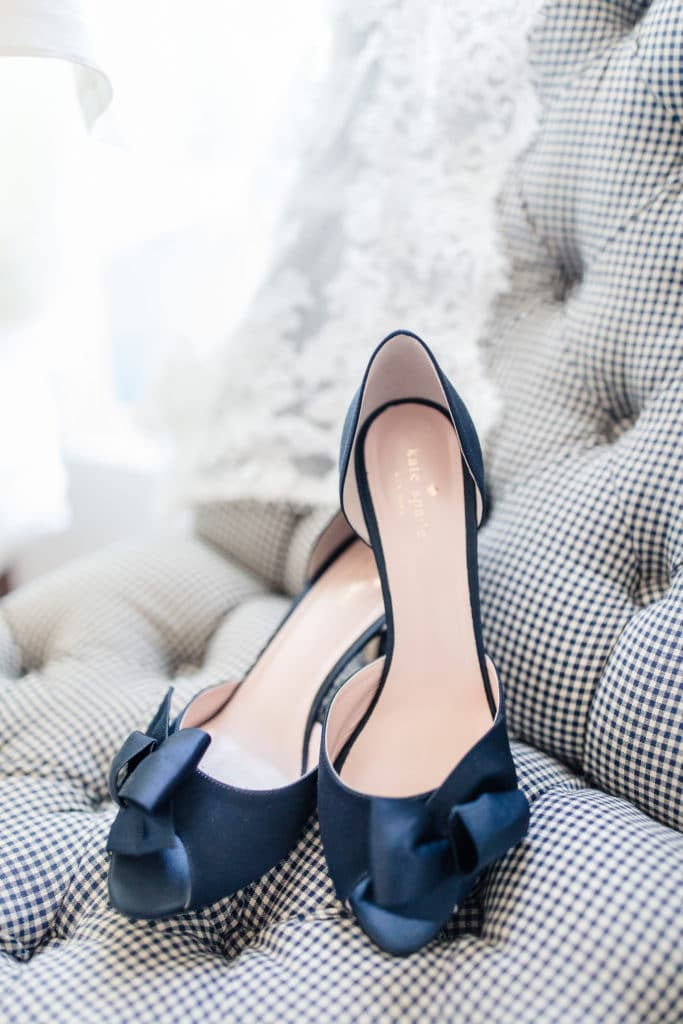 Blue satin shoes with bows for bride shoes