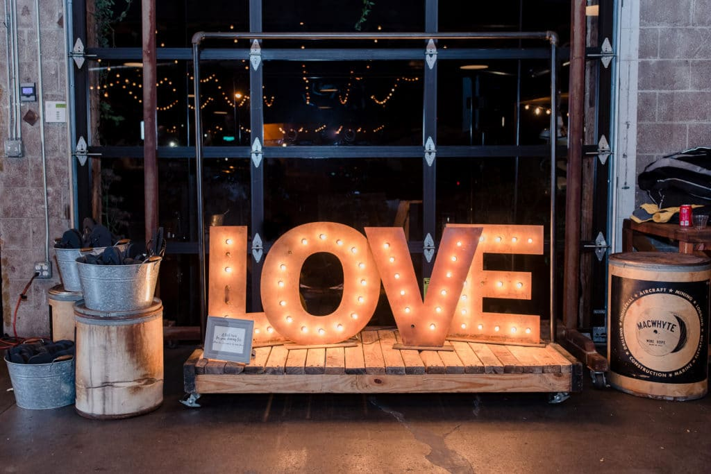 Marquee love sign at Smoky Hollow Studios