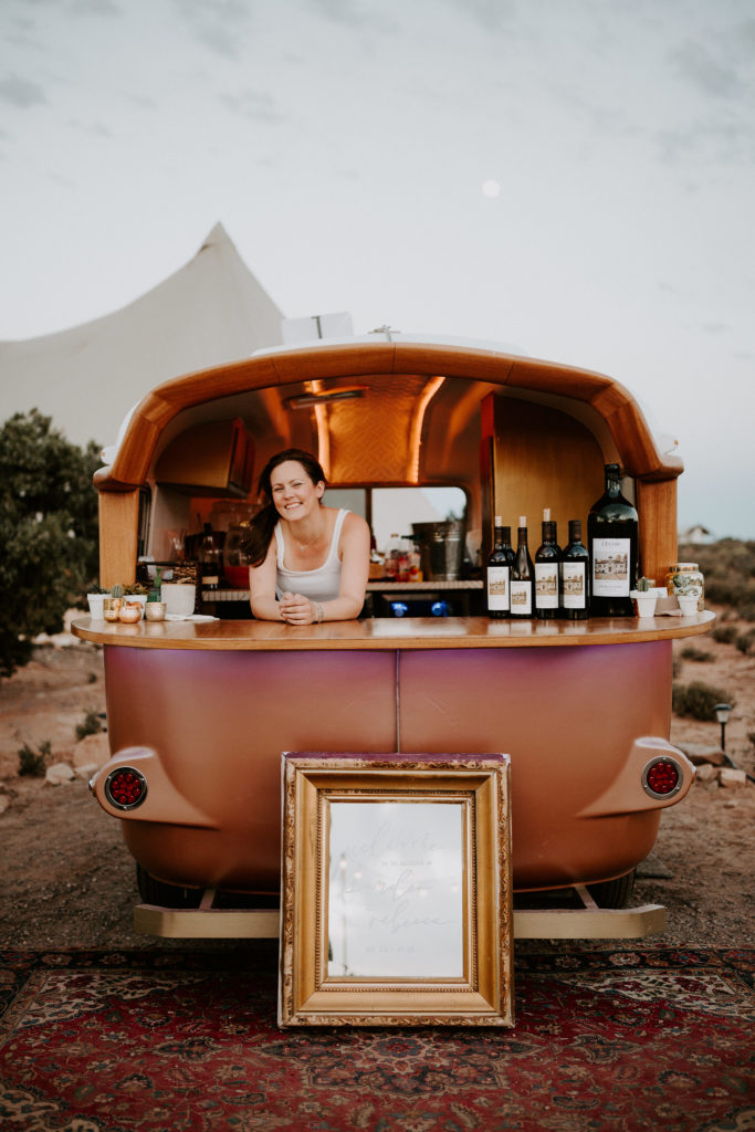 bar trailer in the desert for Under Canvas Moab wedding