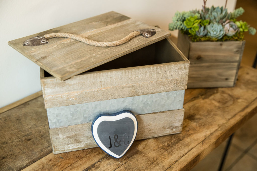 Rustic wooden box to put cards and gifts in for modern navy and grey wedding at The Colony House.