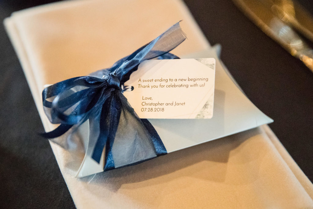 Wedding favors for modern navy and grey wedding.