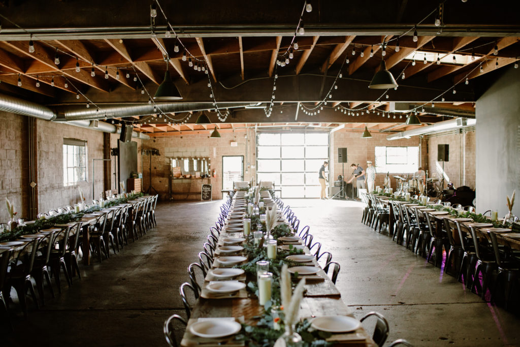 Rustic bohemian theme wedding reception at Smoky Hollow Studios