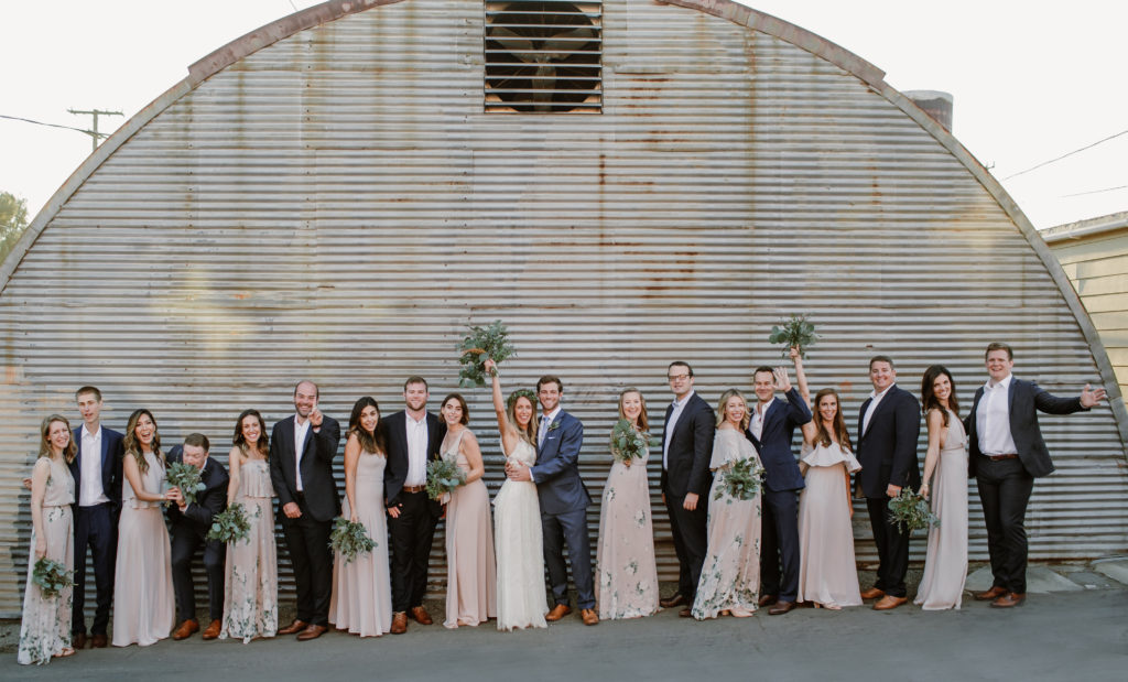 Bridal party for Bohemian wedding at Smoky Hollow Studios