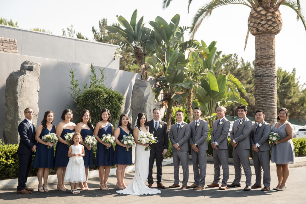 Bridal party for modern navy and grey wedding at The Colony House in Anaheim