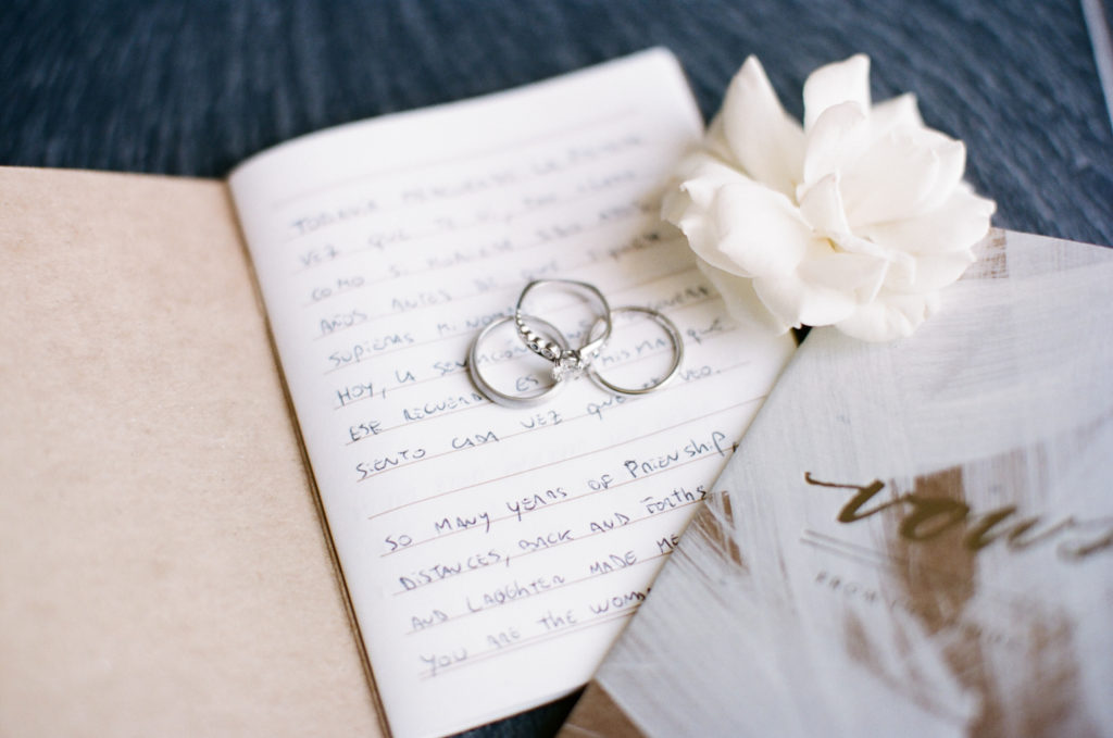 Vow book with rings on top. 4 Easy steps to writing your wedding vows