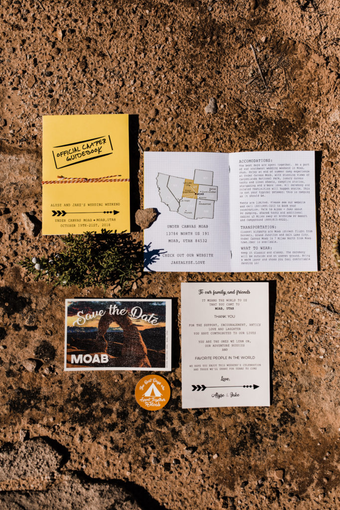 Fun adventurous wedding invitations. Postcard save the date, camp-style wedding invitations for camping wedding at Moab Under Canvas