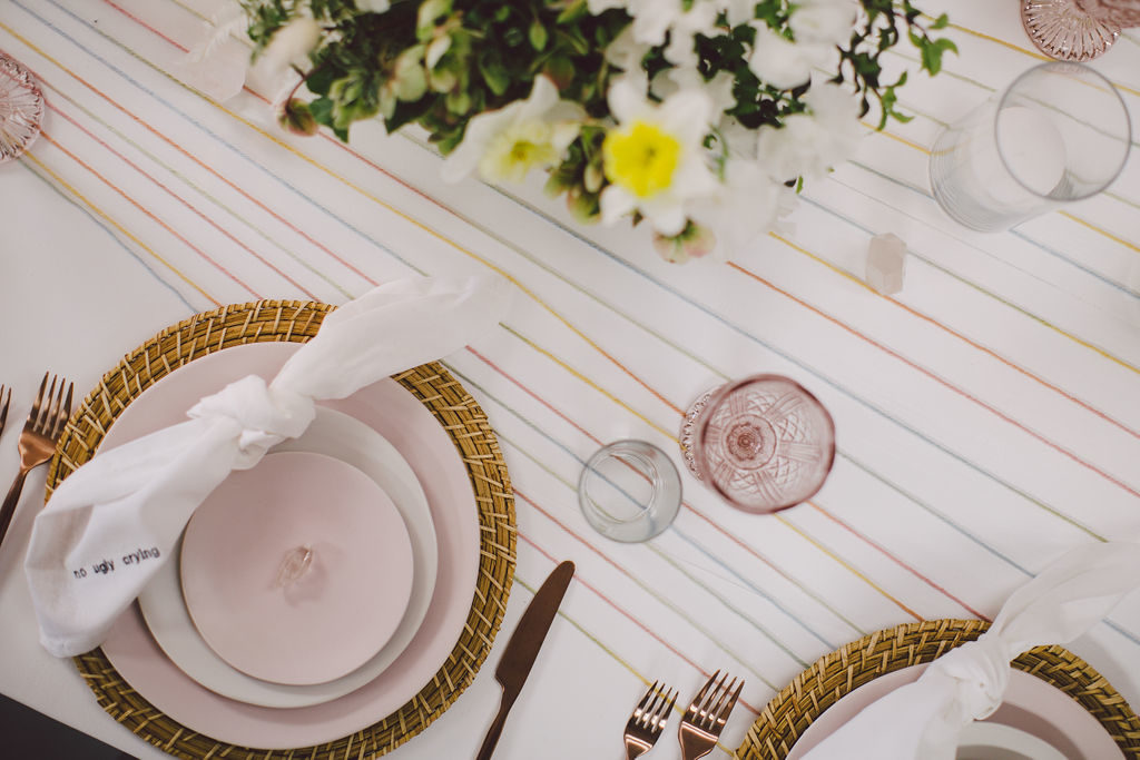 DIY boho table runner idea with copper and pink details