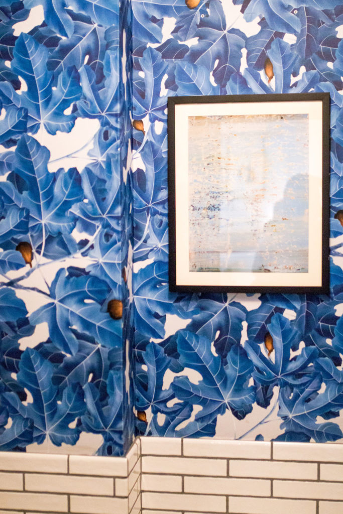 Blue tropical wallpaper in bathroom. Boutique Hotel in Downtown Los Angeles, Hotel Figueroa is the perfect wedding venue for the modern bride or corporate event space for trendy companies