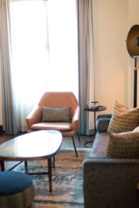Living room in suite at Hotel Figueroa. Perfect for bridal parties to get ready in before a wedding