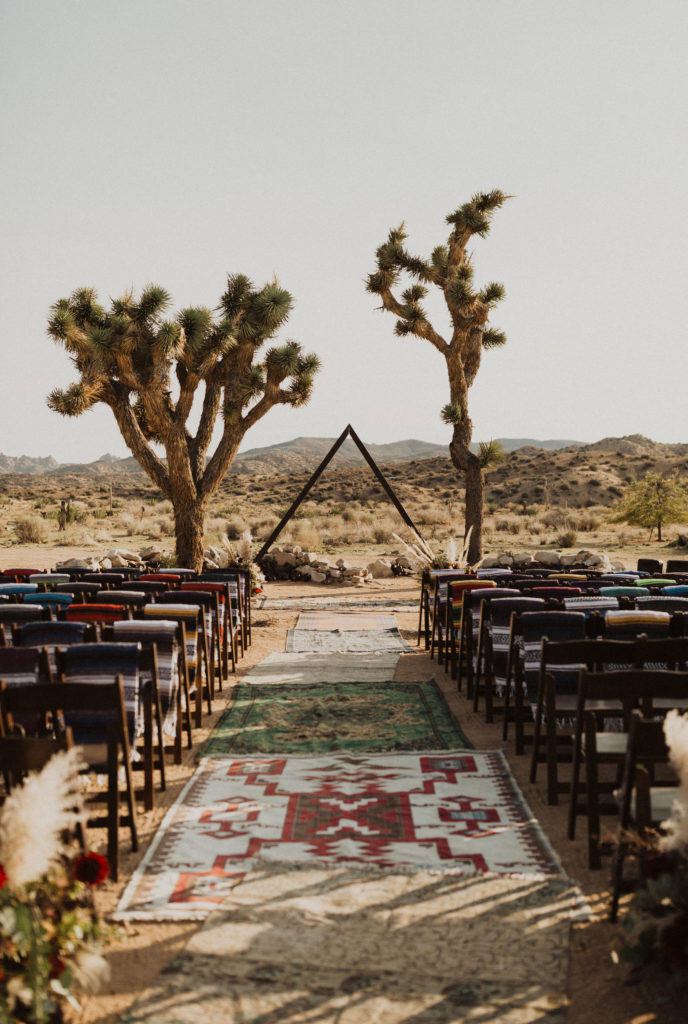 Triangle arch at Rimrock Ranch, in Joshua Tree, CA. Perfect venue for a glamping style wedding or boho elopement.