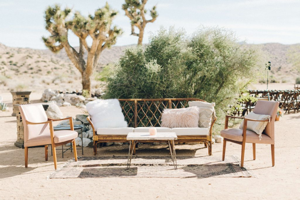 Boho wedding lounge at Rimrock Ranch. Desert wedding in Joshua Tree