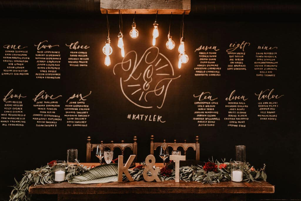 Chalkboard wall with seating chart and hanging edison bulbs at Smoky Hollow Studios