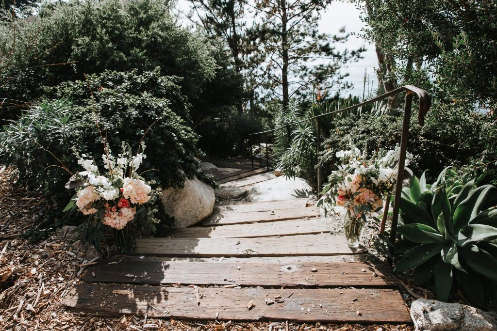 Entry decor for a ceremony at Wind and Sea in Big Sur, California for an intimate and romantic wedding weekend.