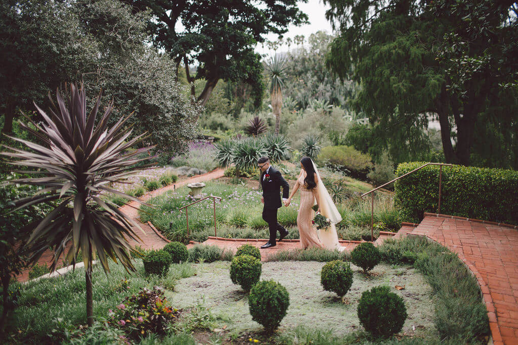 Intimate garden wedding ceremony in Beverly Hills