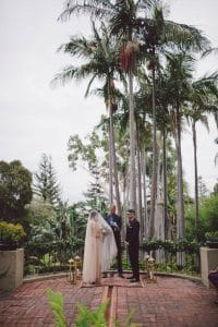 An elegant wedding ceremony at the Virginia Robinson Gardens in Beverly Hills
