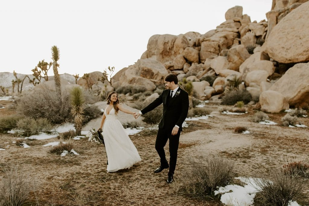 Winter ceremony at Cap Rock in Joshua Tree national park - a venue focused on sustainability