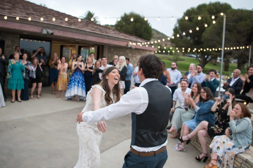 A bride surprises the crowed with a choreographed dance sequence at her wedding in Palos Verdes