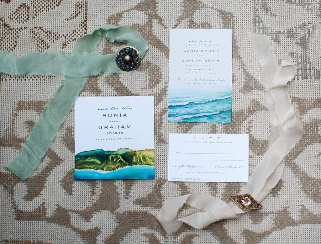 eco friendly invitations for a wedding by the beach